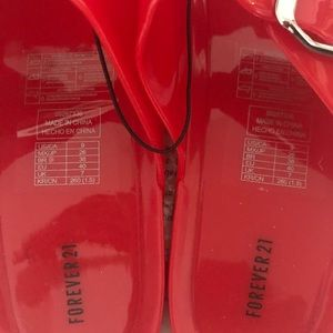 Forever 21 Double-Strap Jelly Slides Red